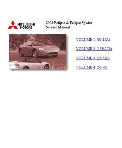 2003 mitsubishi eclipse eclipse spyder service manual rh manualbuy com Auto-Owners Manual 2005 Mitsubishi Eclipse Mitsubishi Eclipse 2003 Long Nose