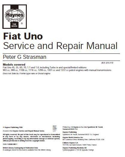 Fiat Uno Service Manual