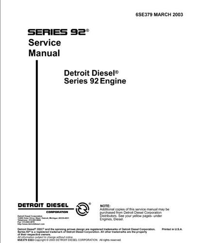 Detroit Diesel V92 Engine Service Manual