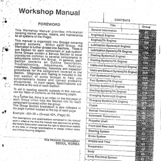 Kia Pregio Workshop Manual