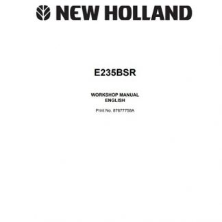 New Holland E235SR Excavator Workshop Manual