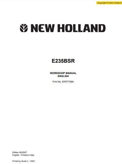 New Holland E235SR Excavator Workshop Manual
