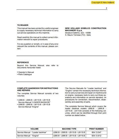 New Holland LB90.B Manual