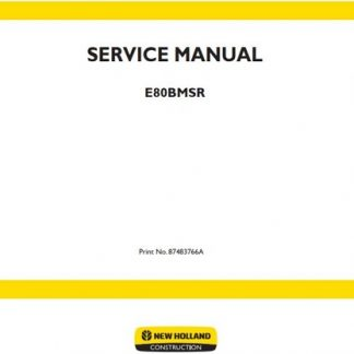 New Holland E80BMSR Manual