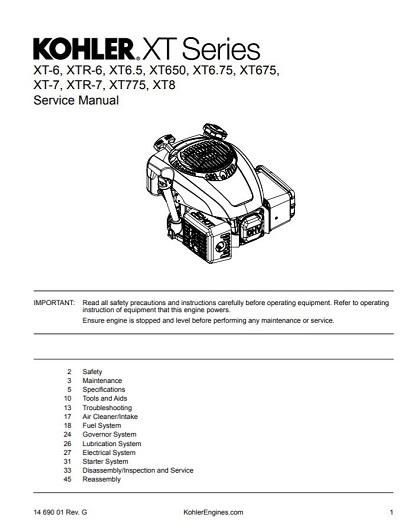kohler xt675 engine service repair manual