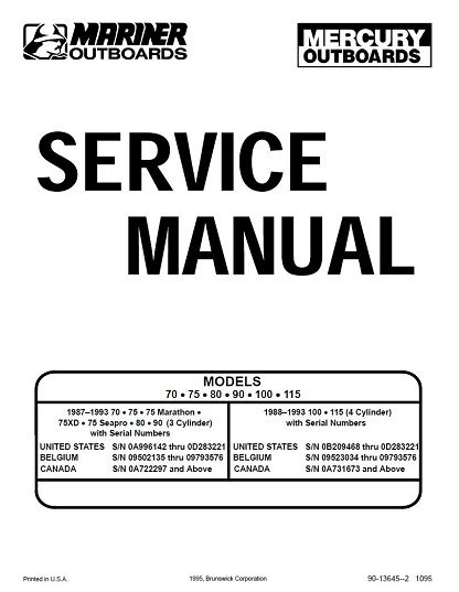 Mercury Mariner Outboard 70 75 80 90 100 115 HP Service Manual