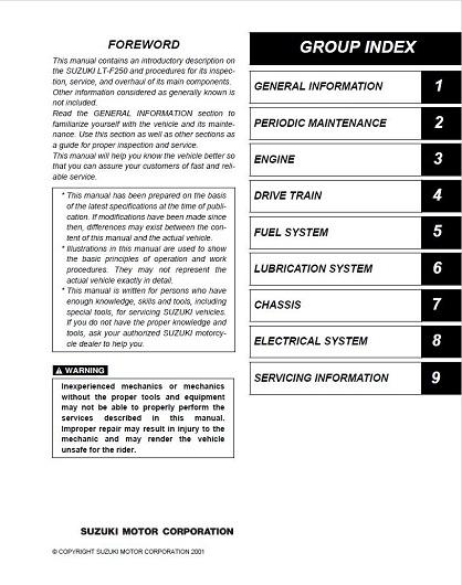 NEW Suzuki LTF250 250 LT4WD Quadrunner Repair Manual