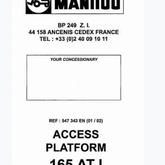 Manitou Access Platform 165 ATJ Service Repair Manual