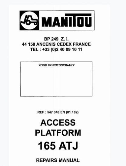 Manitou Access Platform 165 ATJ Service Repair Manual