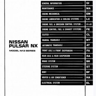 1989 Nissan Pulsar Nx N13 Series Service Manual