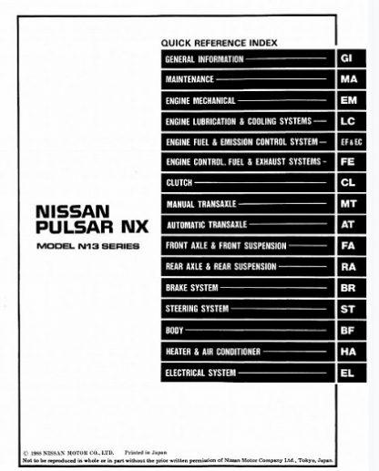 1989 Nissan Pulsar Nx N13 Series Service Manual