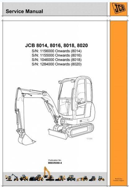 Jcb 8014 8016 8018 8020 Mini Excavator Repair Manual