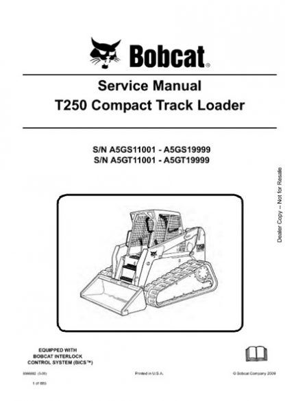 Bobcat T250 Compact Track Loader Service Repair Manual