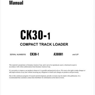 Komatsu CK30-1 Skid Steer Loader Service Shop Manual