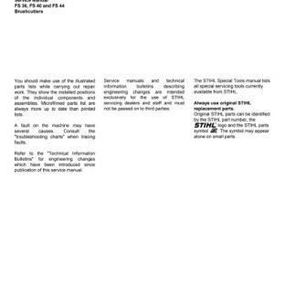 Stihl FS 36, FS 40, FS 44 Brushcutters Service Manual