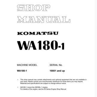 Komatsu WA180-1 Wheel Loader Service Shop Manual