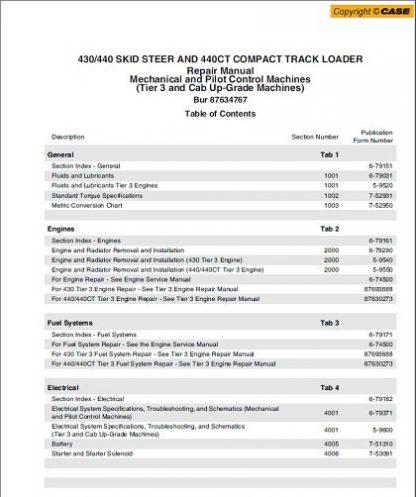 Case 430,440,440CT Skid Steer Service Repair Manual