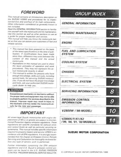 1997-2002 Suzuki VZ800 Maraude Service Repair Manual