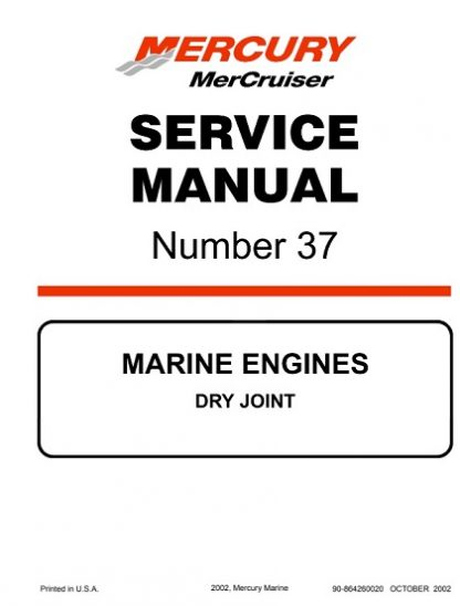 Mercury Mercruiser Marine Engines Number 37 DRY JOINT Service Manual