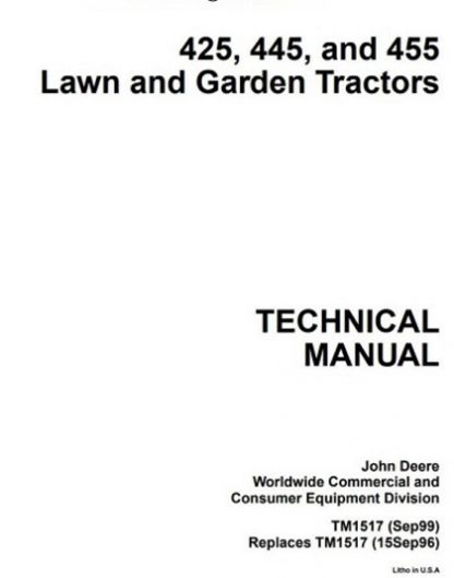 John Deere 425, 445, and 455 Lawn and Garden Service Technical Manual