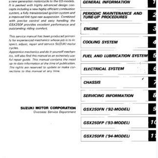Suzuki GSX-250F Service Repair Manual