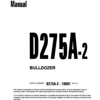 Komatsu D275A-2 Dozer Bulldozer Service Shop Manual