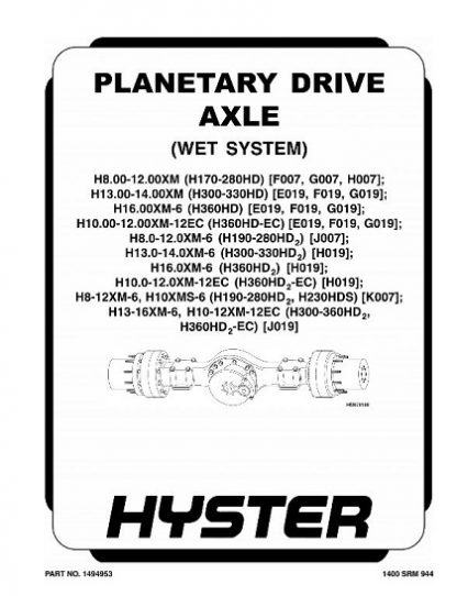Hyster J019 Service Manual
