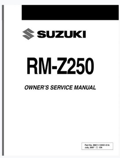 Suzuki RM-Z250 2007 2008 Service Repair Manual
