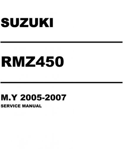 Suzuki RMZ450 2005-2007 Service Repair Manual