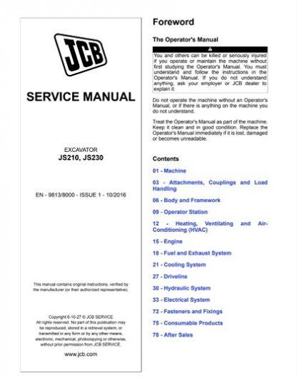 JCB JS210, JS230 Excavator Service Repair Manual