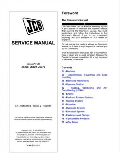 JCB JS300, JS330, JS370 Tracked Excavators Service Repair Manual