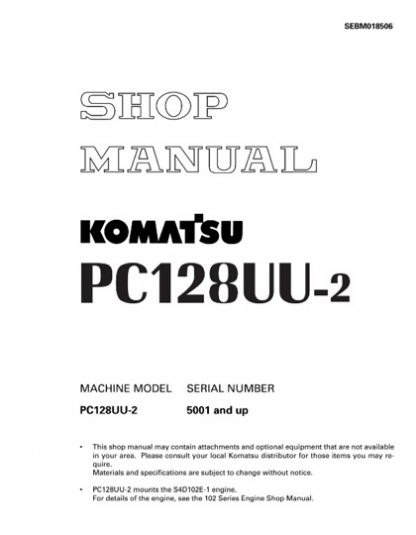 Komatsu PC128UU-2 Hydraulic Excavator Service Shop Manual