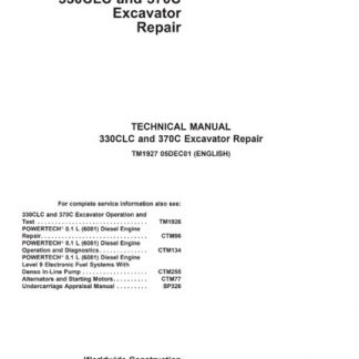 John Deere 330CLC 370C Excavator Technical Manual