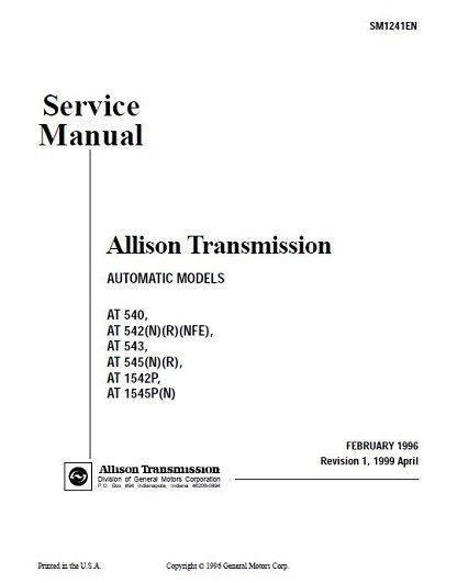 Allison Transmission AT 545 Service Manual