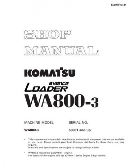Komatsu WA800-3 Wheel Loader Service Shop Manual