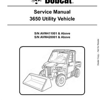 Bobcat 3650 Utility Vehicle Service Repair Manual