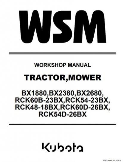Kubota Tractor BX1880,BX2380, BX2680 Workshop Manual