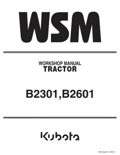 Kubota Tractor B2301,B2601 Workshop Manual